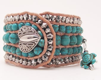 5 Row Button Cuff, Turquoise Howlite,Turtles,Heart, Natural Leather, Southwestern, Silver Bicone