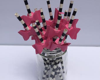 Stripe Straws with Pink Bow, Black & White, Pink Party, Shower, Wedding, Crafting, Pink Party Decoration
