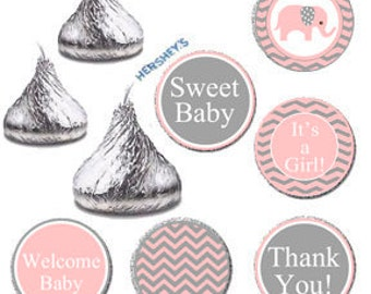 Pink Elephant Baby Shower Printable Candy Labels, It's A Girl Baby Shower DIY Candy Stickers, Hershey Kisses Favors Label, Pink and Gray