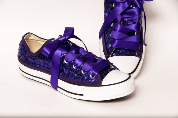Tiny Sequin - Starlight Full Grape Purple Converse All Star Low Top Canvas  Sneakers Shoes with Satin Ribbon Shoelaces