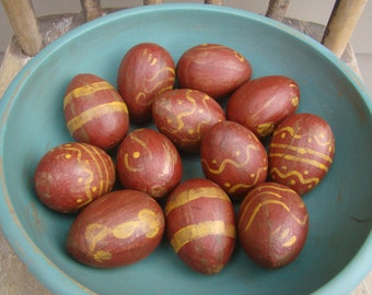 Primitive Colonial Redware Red ware Paper Mache Easter Eggs, rustic and distressed eggs