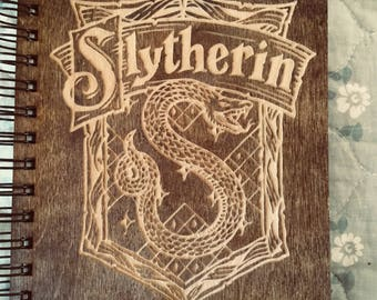 Harry Potter House Slytherin Etched Wooden Notebook