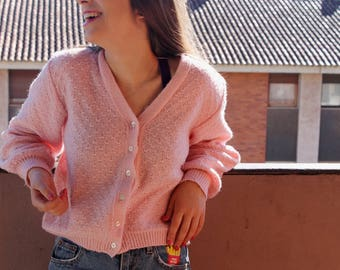 Vintage Pink Wool Knit Cardigan | Pastel Pink Cropped Sweater