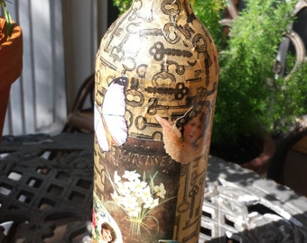 OOAK Decoupage Wine Bottle Vase - Art Bottle, Steampunk, Victorian,