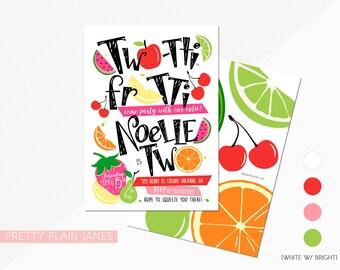 Two-tti Frutti 2nd Birthday Invitation | Two-tti Fru-tti Digital Printable Invite | Boy or Girl Tutti Frutti Birthday | Tutti Frutti TWO