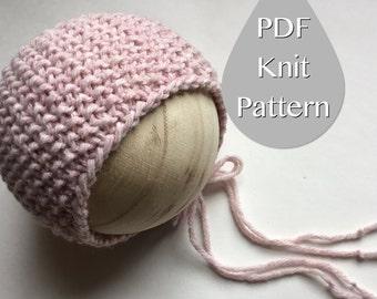 PDF Knit Pattern #0040 The Kendall Knit Bonnet, Newborn, Knit PDF Pattern,Tutorial,Knit Pattern,Easy,Video,Instruction,Newborn,Beginner