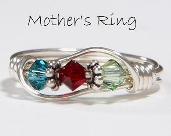 Mother's 3 Birthstone Ring: Personalized wire wrapped Sterling Silver Mother's Family Ring. Three Swarovski Birthstone Crystals. Birthday