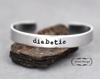 Diabetic bracelet, Custom cuff bracelet, Personalized cuff, Medical Alert, Allergy ID Bracelet, Drug Sensitivity, metal stamping cuff