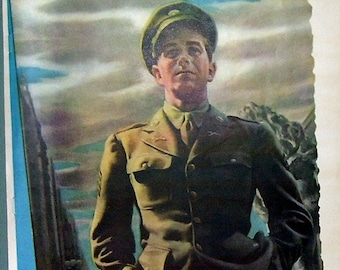 Original Army Man Illustration Magazine Page,WW2, Soldier, Salute, Soldier Uniform, Artist Illustration, Photo Illustration,