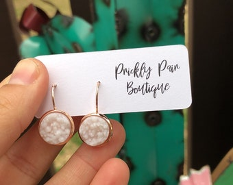 12mm White Faux Druzy on Rose Gold Dangles