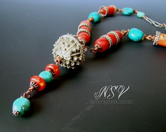Antique Yemeni silver Bedouin globe bead  necklace with red coral and turquoise