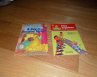 Sesame Street Vintage Coloring Book Golden Book 1987 Unused Cookie Monster Elmo Ernie Bert Big Bird Lot 2 Activity