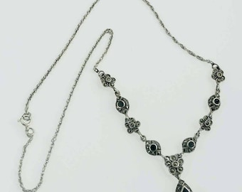 Sterling Silver Marcasite Onyx Chandelier Necklace 18 Inches