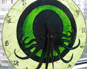 Handmade wall Cthulhu clock