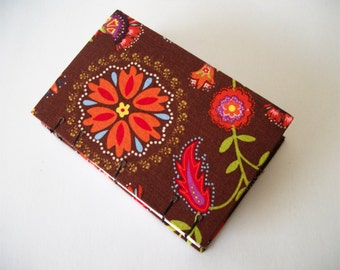 Handmade Journal Brown Floral Fabric Covered Sketchbook OOAK Notebook Handcrafted Bullet Journal 100 Pages Retro Design