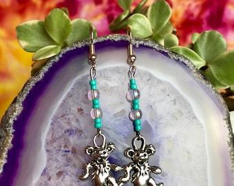 Grateful Dead Dancing Bear Turquoise / Silver Charm Beaded Earrings