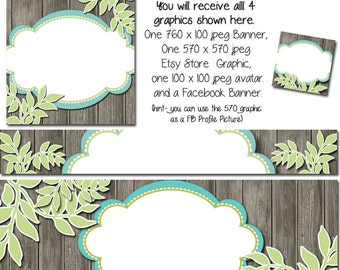 DIY Blank Etsy Banner and Facebook Set - Caitlin - Customize for your Store