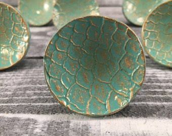 Drawer Knob, Turquoise & Gold Knobs, Embossed French Country Look Round Cabinet Pulls, Item #551025387