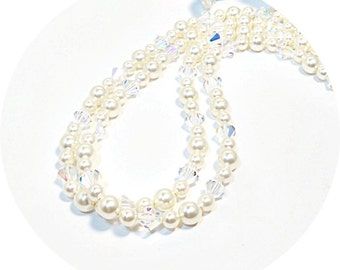 Ivory, 2 Strand Necklace, Double Strand, Wedding Jewelry,Crystal, Pearl Necklace, Mother of Bride, Mother of Groom, Bridal Accessories