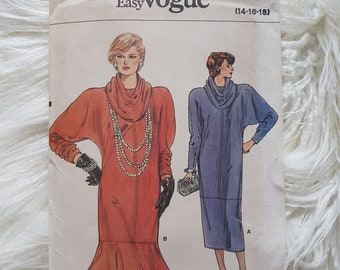 Vogue Pattern 9126 | Vintage 1980s Cowl Neck Pullover Dress | Sizes 14-16-18