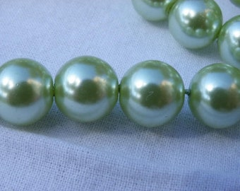 50 glass 8 mm Green freshwater pearl beads