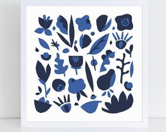Blue art, scandinavian art, scandinavian print,  minimalist art, kitchen art, floral print, botanical print, modern art, flower, blue print