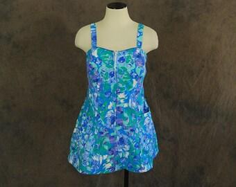vintage 60s Playsuit - Blue Floral Romper 1960s One Piece Swimsuit Bathing Suit Sz M