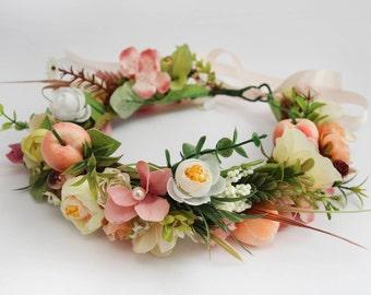 Pink Floral Crown \ Bridal Flower Crown Adult Boho Wedding Flower Crown Summer Wedding Flower Halo