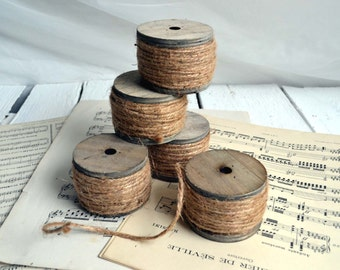 Rustic String On Chunky Wooden Bobbin 20 Meters Of Twine