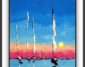 Modern art  painting sailboats blue pink  24 x 18/ Art moderne voiliers bleu rose