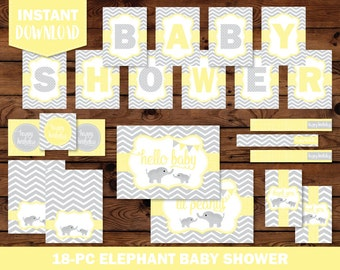 Elephant Baby Shower Printables, Baby Shower Decor, Baby Shower Printables, Baby Shower Decorations, Baby Shower Banner, BS2030