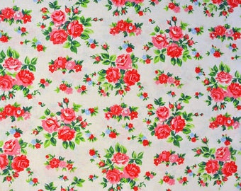 Rose Florals on Cream Fabric