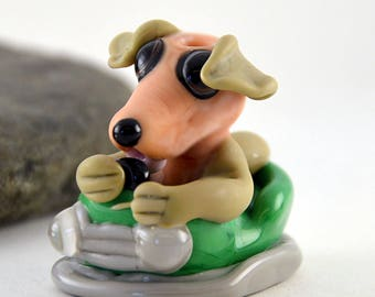 DOG in a Dodgem Car, Lampwork Glass Sculpture Collectible, Focal Bead, Izzybeads SRA