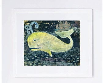 Navy Blue and Yellow Whale Ocean Children's Whimsical Art Print