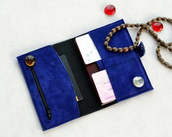 Leather passport cover with pockets / black blue leather suede traveler long wallet