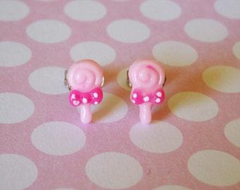 Tiny Pink Swirly Lollipop Earrings