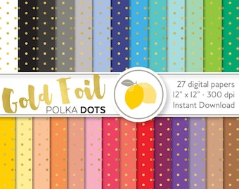 Digital Paper Pack - Gold Foil Polka Dots