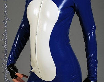 Catsuit from Thick Latex with Fingerless Gloves, Open Socks and Tummy Part