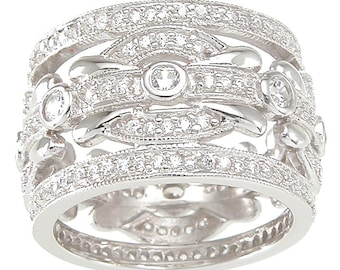 Sterling Silver White Round-cut TGW 1 1/2 Cubic Zirconia Antique Wedding-style Band