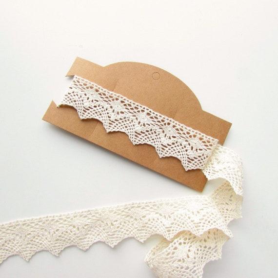 2 yds cream cotton trim 3.5 cm Beige cotton lace border  Vintage style crochet trimming  Cotton lace edging cream
