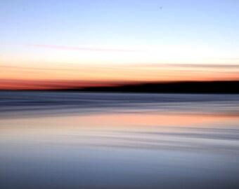 Abstract Seascape, Ocean Sunset, Orange and Black,  Beach Decor, Modern Decor, Matted Print, Wall Art