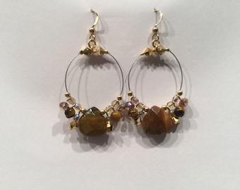 Eye of the Tiger charmed hoop earrings