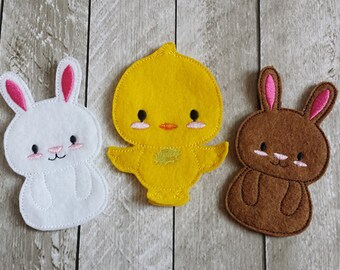 Bunnies and Chick Finger Puppet Set, Chicken Finger Puppets, Puppets, Imagination Play, Pretend, Felt, Waldorf