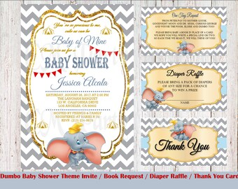 PRINTED Dumbo Baby Shower Invitation and Packages