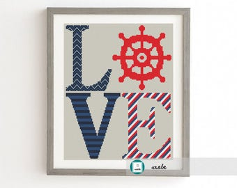 LOVE sign nautical motifs, modern cross stitch pattern, PDF, instant download