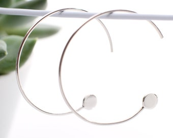 Contemporary Sterling Silver Pull Through Hoop Earrings