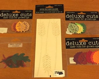 NIP!  Deluxe Cuts - Leaves and Wheat - Lot of 4 + Bonus Pack - Cards - Tags - Collage - Scrapbooks - ATC -Free US Shipping
