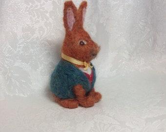 "Alice in Wonderland March Hare, Felted Wool by Elsa Jo Ellison, 6""  Ready to Ship"