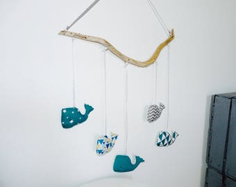 More available! Mobile whales on Driftwood - teal, white and gray