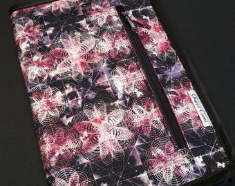 Standard knitting needle case for circulars, interchangeable tips, and short dpns in Atomic Cosmos